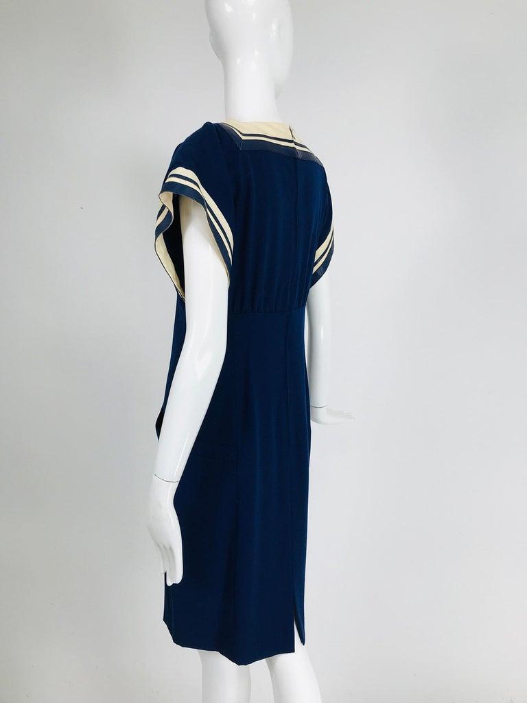 Vintage Bernard Perris Paris Demi Couture Navy Blue Nautical Dress 1980s For Sale 5