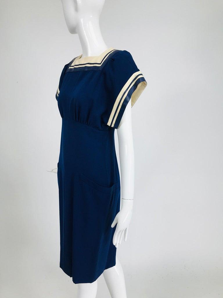 Vintage Bernard Perris Paris Demi Couture Navy Blue Nautical Dress 1980s For Sale 6