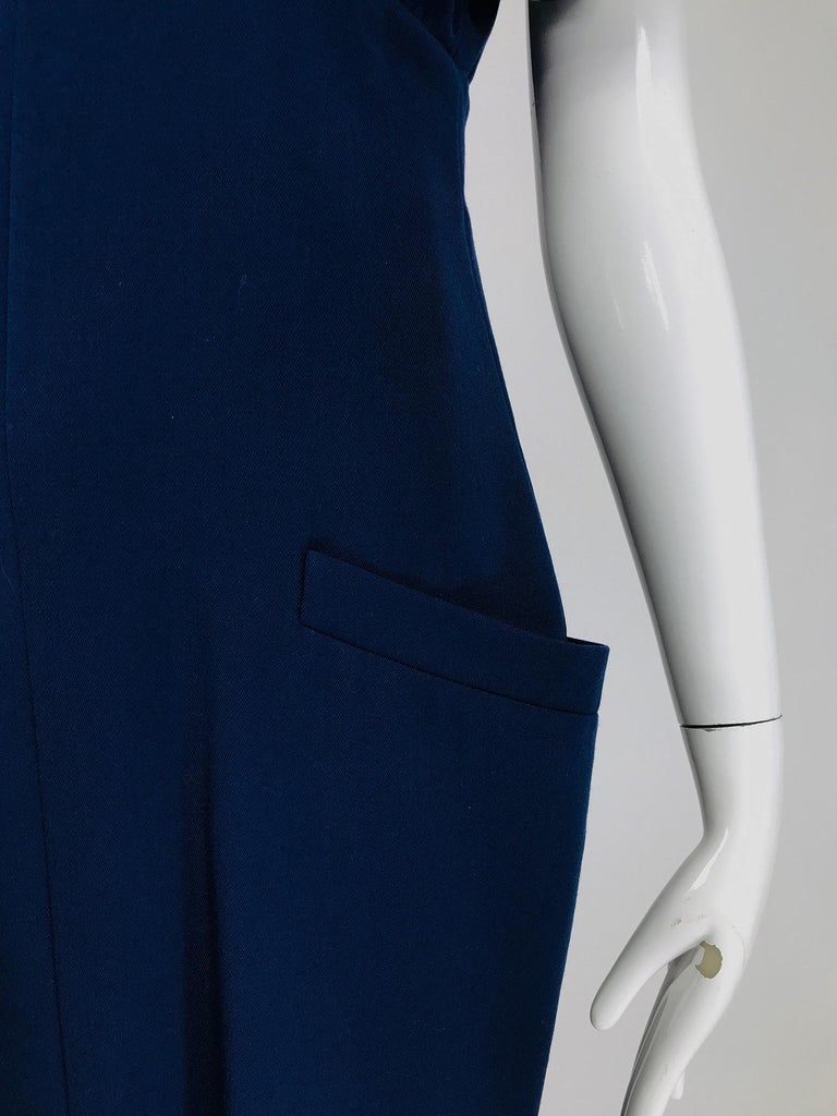 Black Vintage Bernard Perris Paris Demi Couture Navy Blue Nautical Dress 1980s For Sale