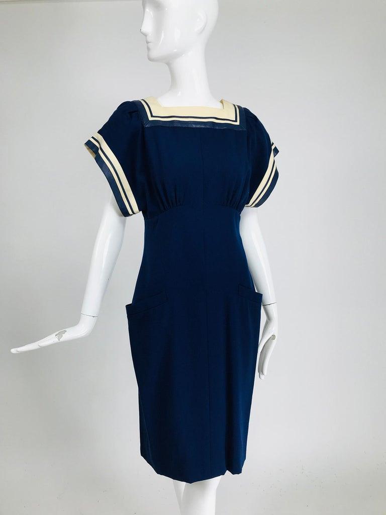 Vintage Bernard Perris Paris Demi Couture Navy Blue Nautical Dress 1980s In Good Condition For Sale In West Palm Beach, FL