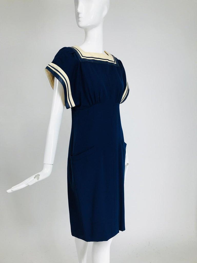 Women's Vintage Bernard Perris Paris Demi Couture Navy Blue Nautical Dress 1980s For Sale