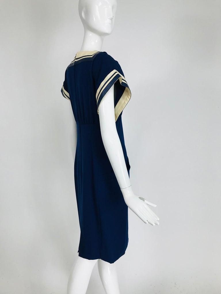 Vintage Bernard Perris Paris Demi Couture Navy Blue Nautical Dress 1980s For Sale 1