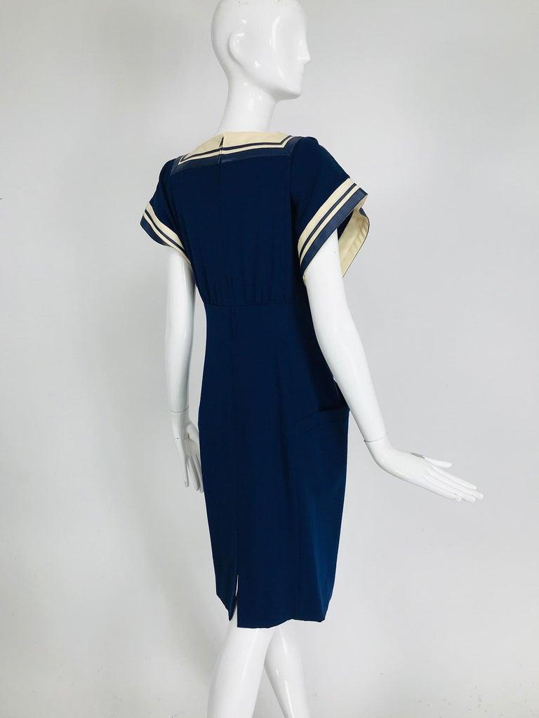 Vintage Bernard Perris Paris Demi Couture Navy Blue Nautical Dress 1980s For Sale 2