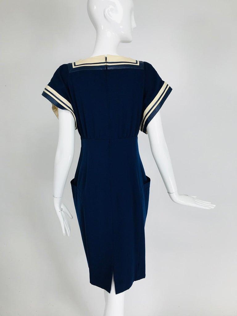 Vintage Bernard Perris Paris Demi Couture Navy Blue Nautical Dress 1980s For Sale 3