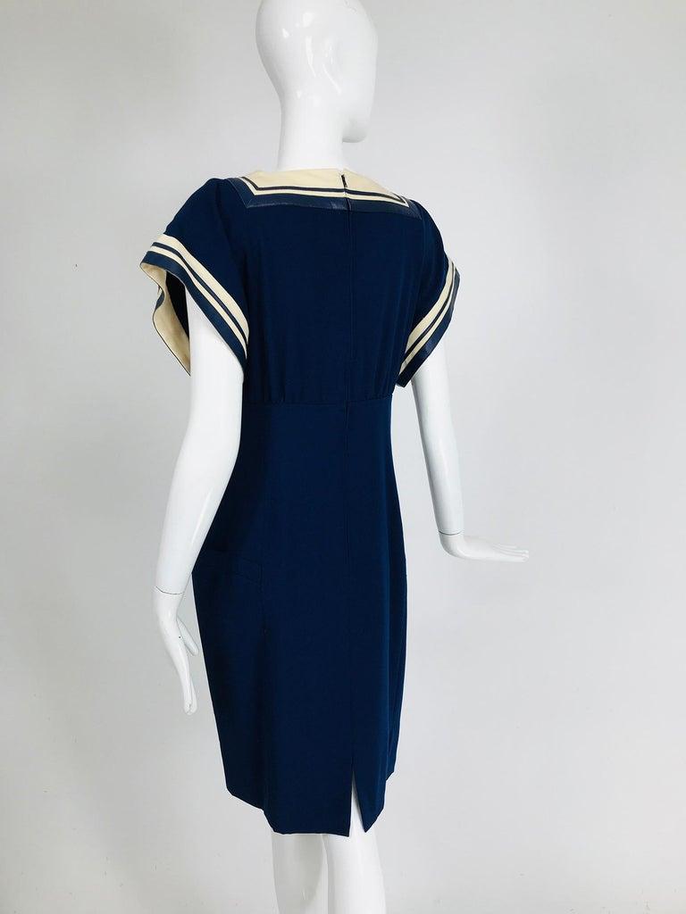 Vintage Bernard Perris Paris Demi Couture Navy Blue Nautical Dress 1980s For Sale 4