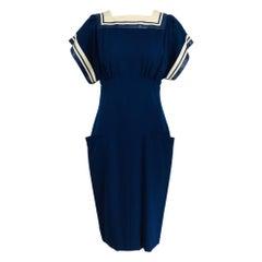 Vintage Bernard Perris Paris Demi Couture Navy Blue Nautical Dress 1980s
