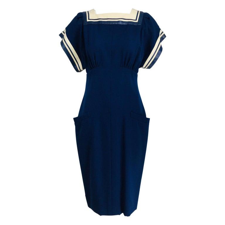 Vintage Bernard Perris Paris Demi Couture Navy Blue Nautical Dress 1980s For Sale