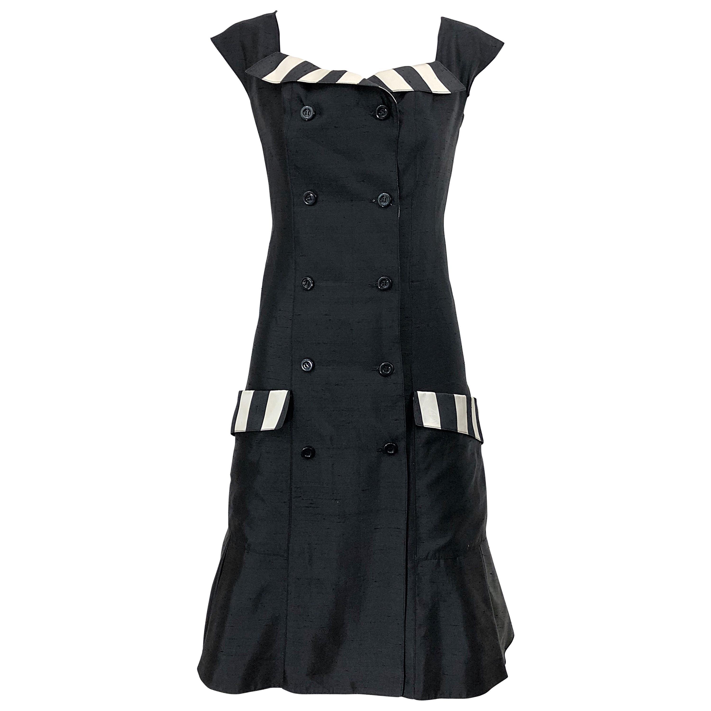 Vintage Bernard Perris Size 12 Black and White Striped 1990s Silk Dress
