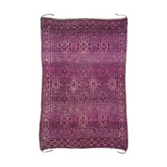 Vintage Berry Beni M'Guild Moroccan Rug with Diamond Pattern and Bohemian Style