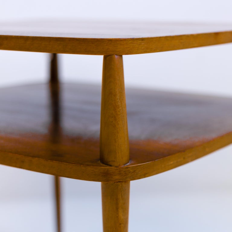 Patinated Vintage Bertha Schaefer Walnut Side Table for Singer & Sons, 20th Century, USA For Sale
