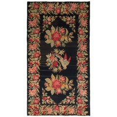 Vintage Bessarabian Kilim Black Green and Pink Romanian Wool Flat-Weave Rug