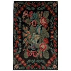Vintage Bessarabian Kilim Black Red Blue Floral Flat-Weave Wool Rug