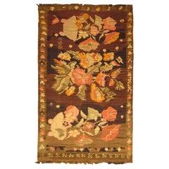VIntage Bessarabian Kilim Flat-Weave Decorative Carpet in Gallery Size