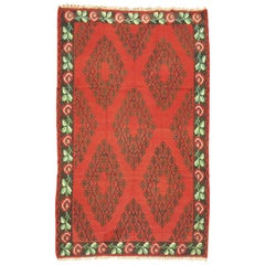 Vintage Besserabian Kilim Flat-Weave