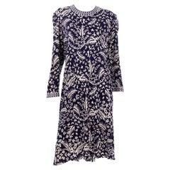 Vintage Bessi Italy Silk Jersey Navy Blue Print Dress