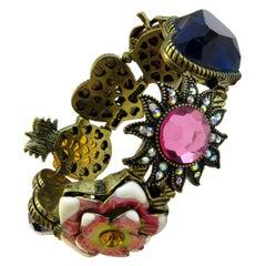 Vintage Betsy Johnson Multi-Color Stone and Enamel Stretch Bracelet