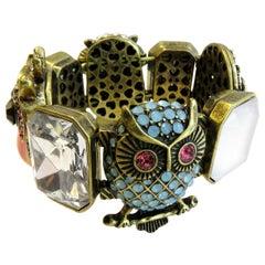 Vintage Betsy Jonhson Multi-Color Stone Owl and Enamel Stretch Bracelet