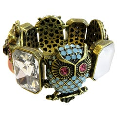 Vintage Betsy Jonhson Multi-Color Stone Owl and Enamel Stretch Bracelet