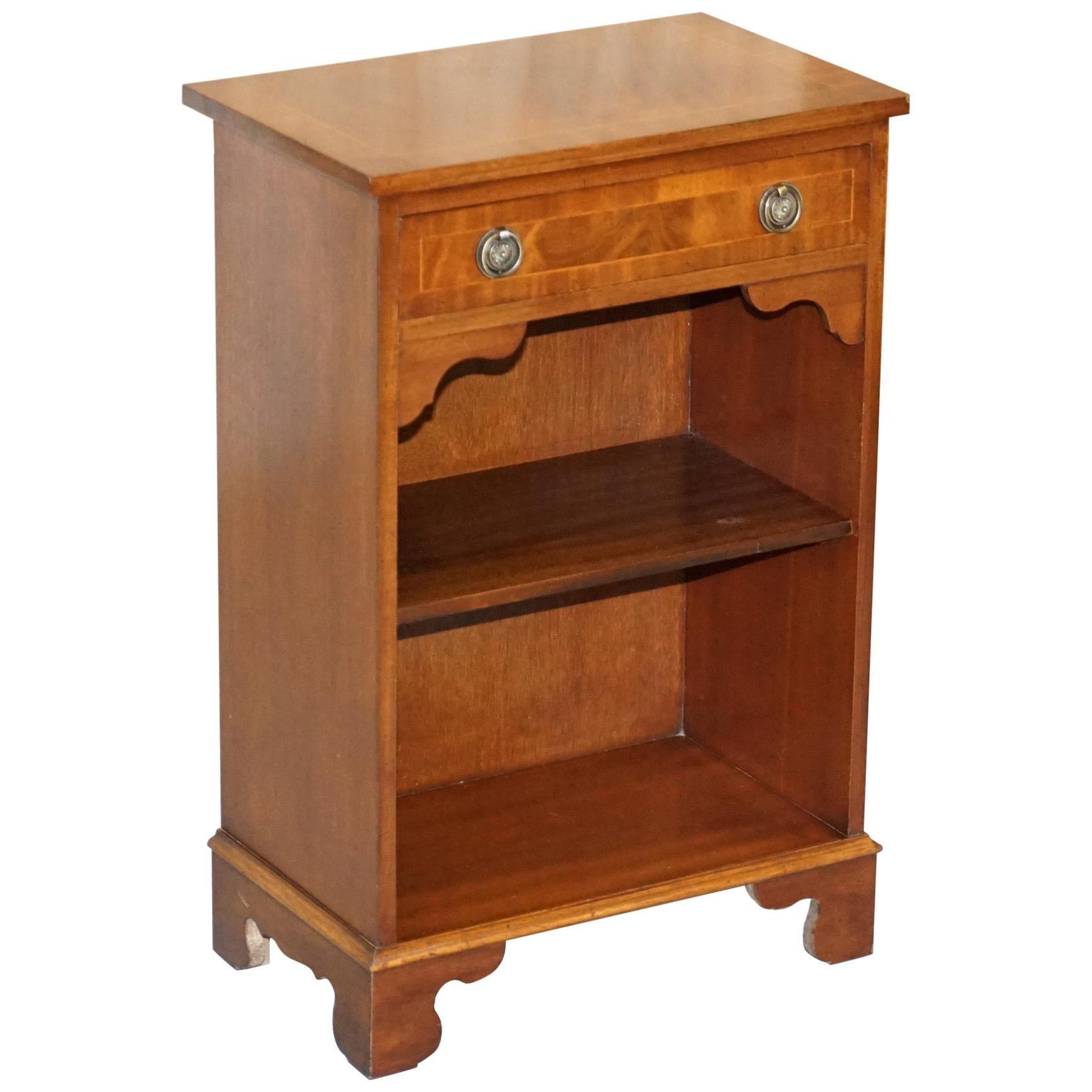 Vintage Bevan Funnell Flamed Hardwood Side Table Cabinet Bookcase Single Drawer