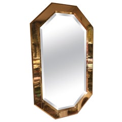 Vintage Beveled Brass Mirror