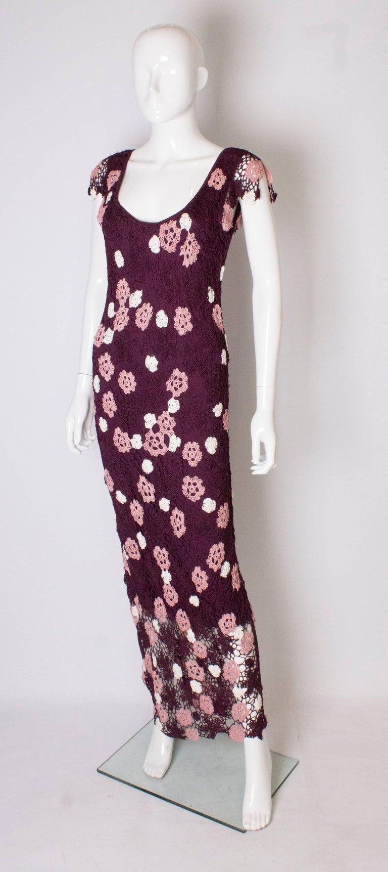 Black Vintage Bias Cut Crochet Dress For Sale