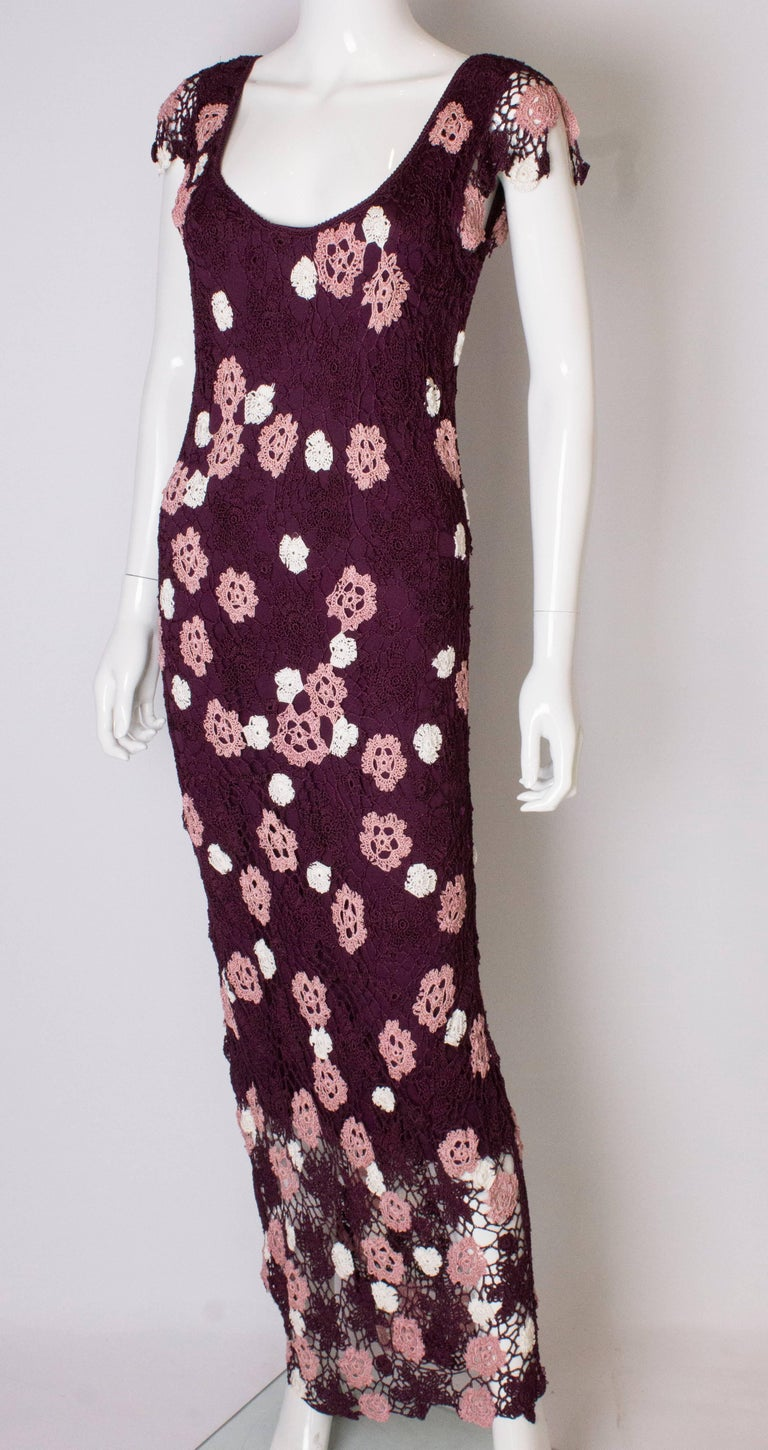 Vintage Bias Cut Crochet Dress In Good Condition For Sale In London, GB