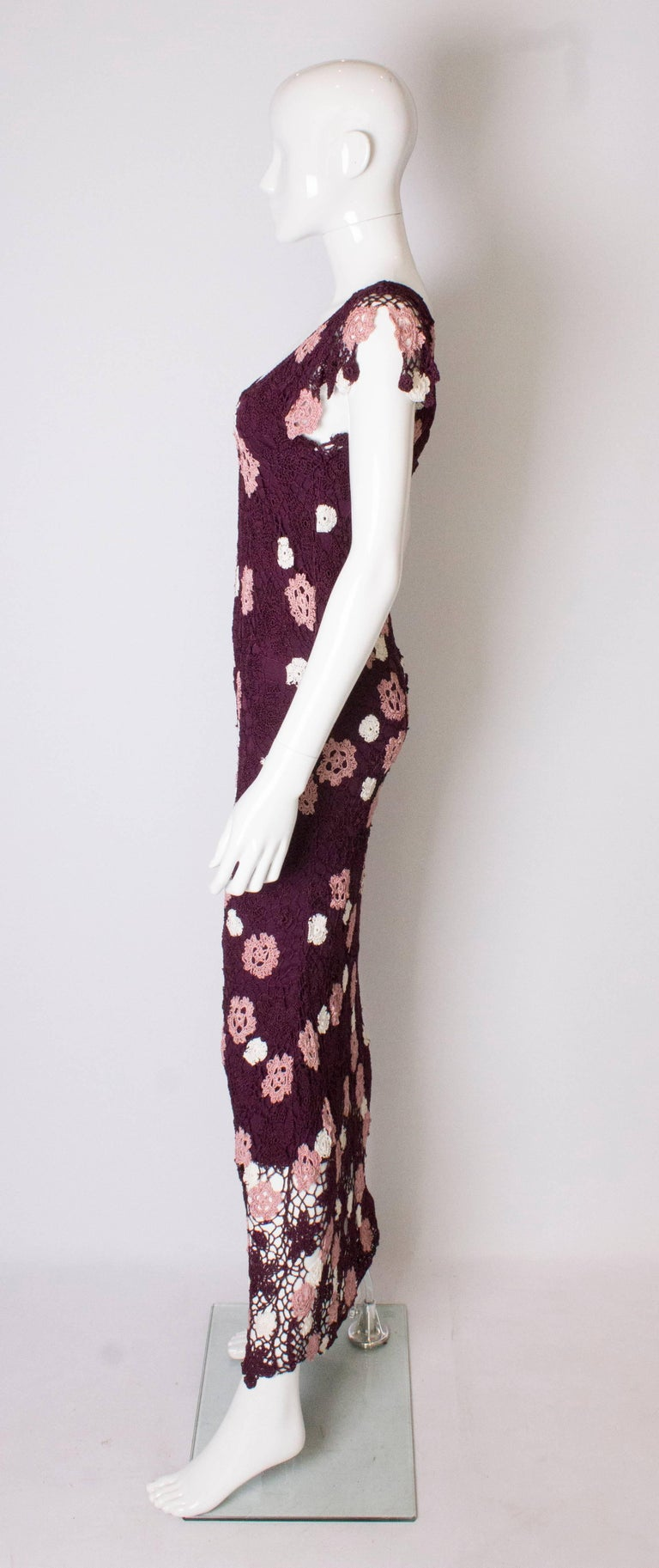 Women's Vintage Bias Cut Crochet Dress For Sale