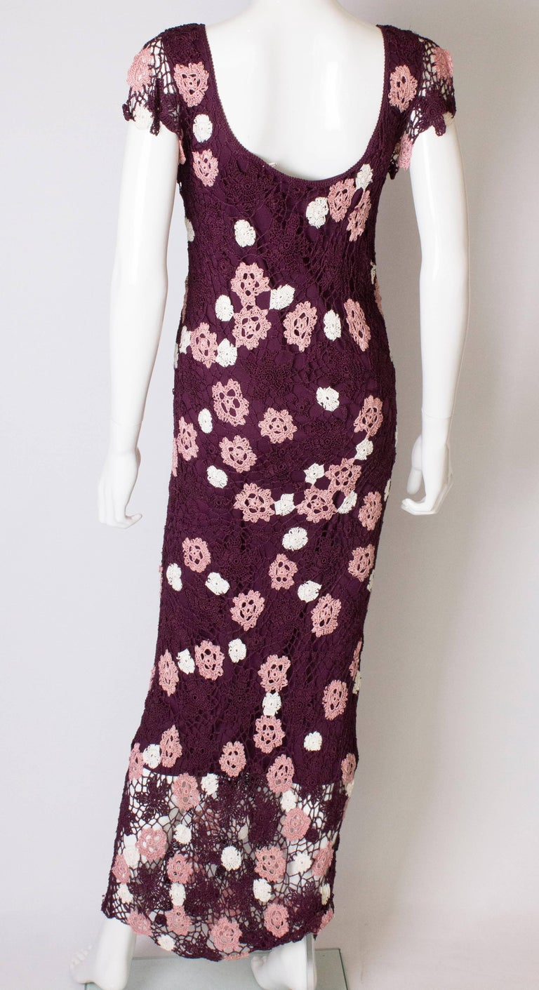 Vintage Bias Cut Crochet Dress For Sale 2