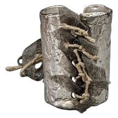 Vintage BICHE DE BERE Hammered Corset Tie Lace Silver Cuff Bracelet