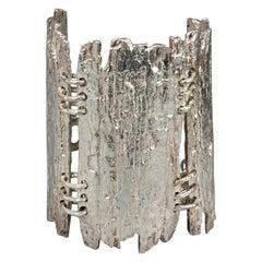 Vintage BICHE de BERE Textured Wide Modernist Statement Silver Cuff Bracelet