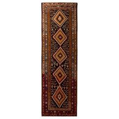 Vintage Bidjar Geometric Beige Brown and Orange Wool Persian Kilim Runner