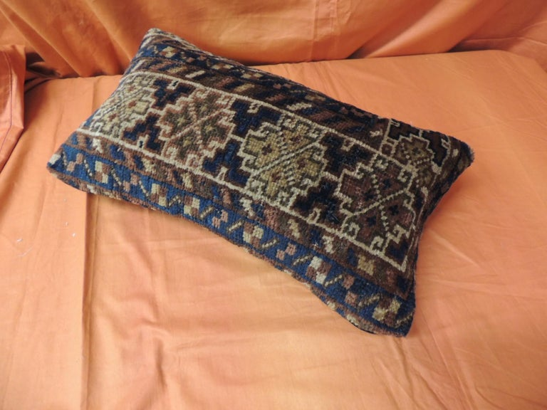 Tribal Vintage Bidjar Rug Fragment Decorative Lumbar Pillow For Sale