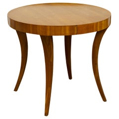 Vintage Biedermeier Style Fruitwood Side Table with Circular Top and Saber Legs