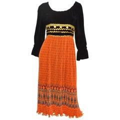 Vintage Bill Blass 1970's Pleated Dress with Embellishing