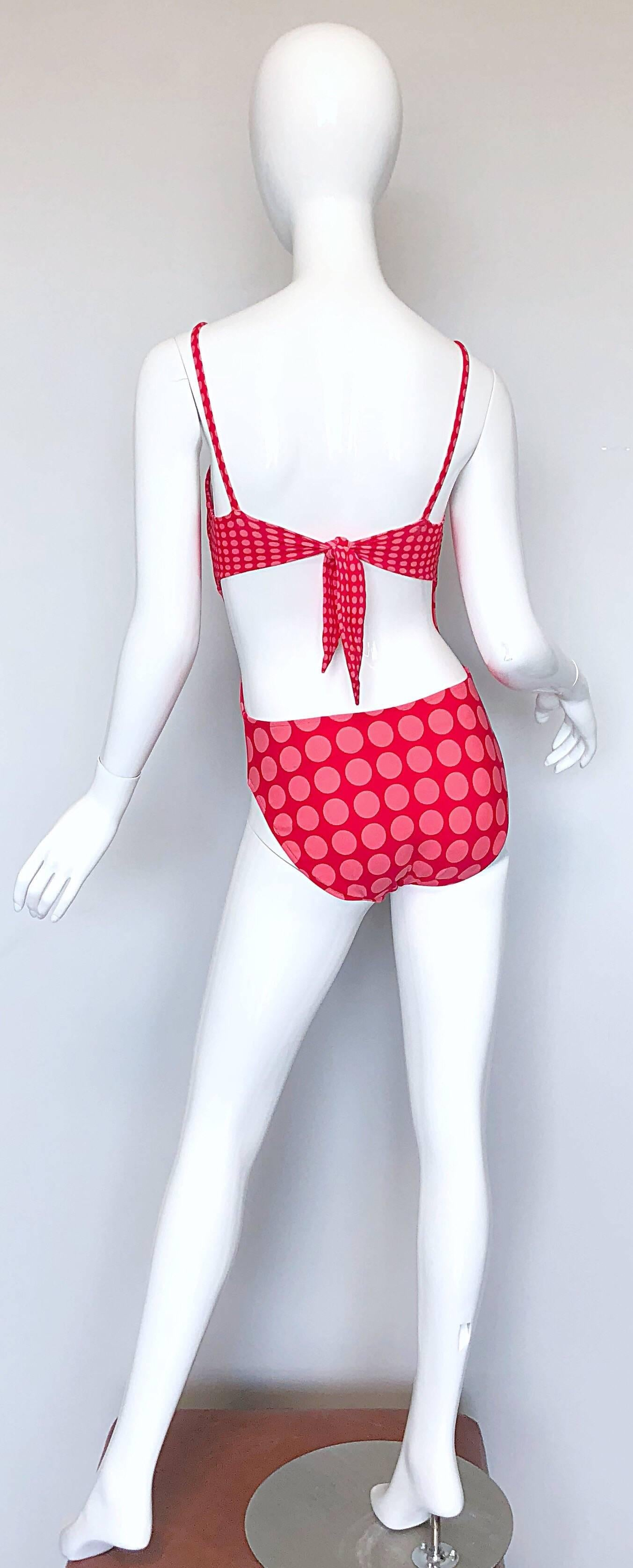 1bb1d16448 Vintage bill blass pink red cut out polka dot one piece swimsuit bodysuit in  excellent jpg
