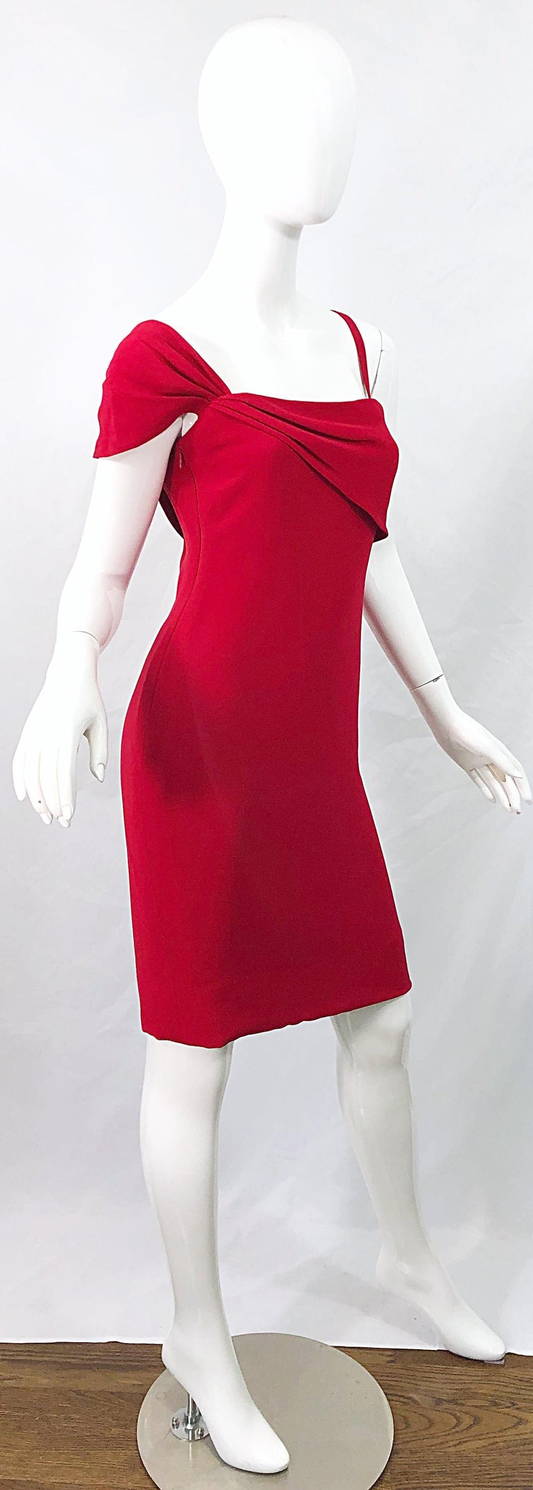 Vintage Bill Blass 1990s Size 6 Lipstick Red One Shoulder 90s Silk Dress For Sale 6