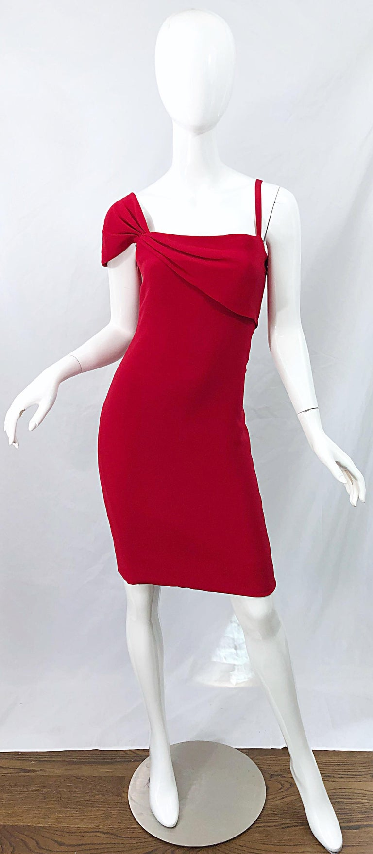 Amazing vintage 90s BILL BLASS for Saks 5th Avenue lipstick red one shoulder silk dress! Features a flattering fit with a spaghetti strap on the left shoulder and a cap sleeve on the right shoulder. Drapes along the front and back bodice. Hidden