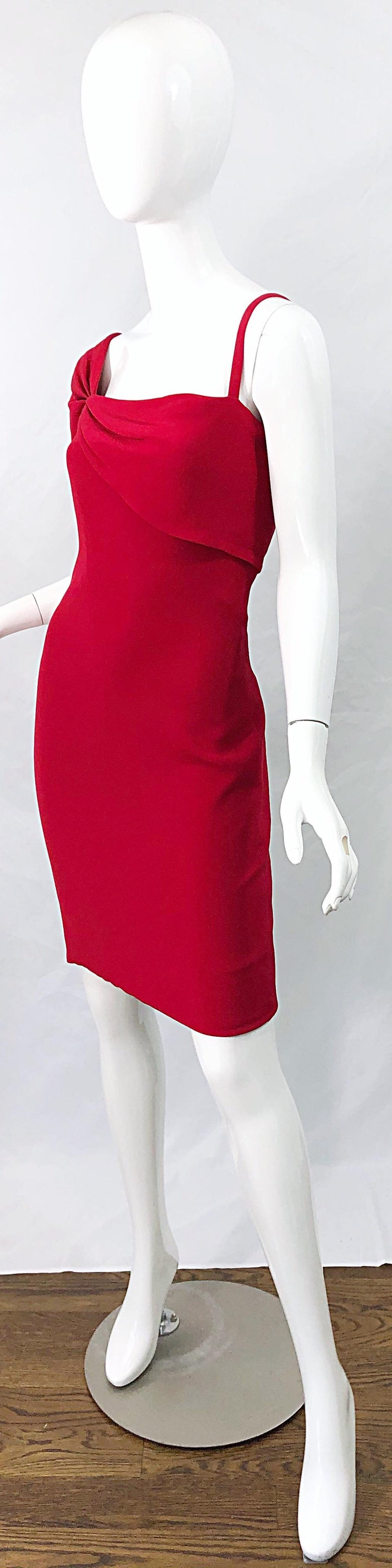 Women's Vintage Bill Blass 1990s Size 6 Lipstick Red One Shoulder 90s Silk Dress For Sale