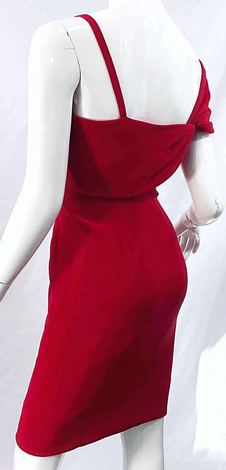 Vintage Bill Blass 1990s Size 6 Lipstick Red One Shoulder 90s Silk Dress For Sale 1
