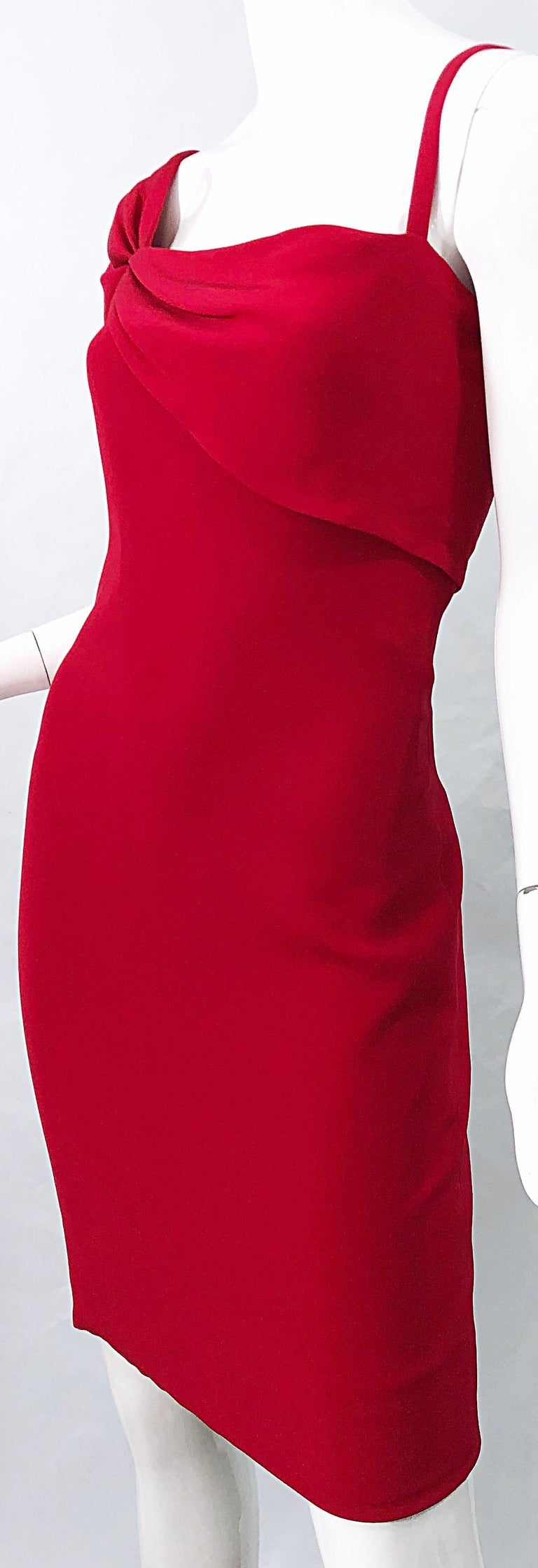 Vintage Bill Blass 1990s Size 6 Lipstick Red One Shoulder 90s Silk Dress For Sale 4
