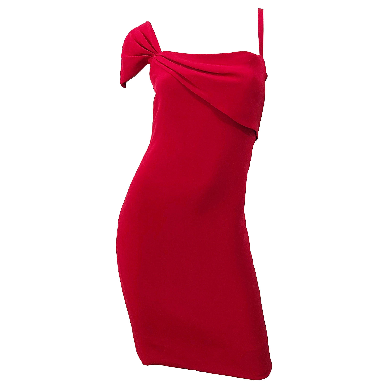 Vintage Bill Blass 1990s Size 6 Lipstick Red One Shoulder 90s Silk Dress