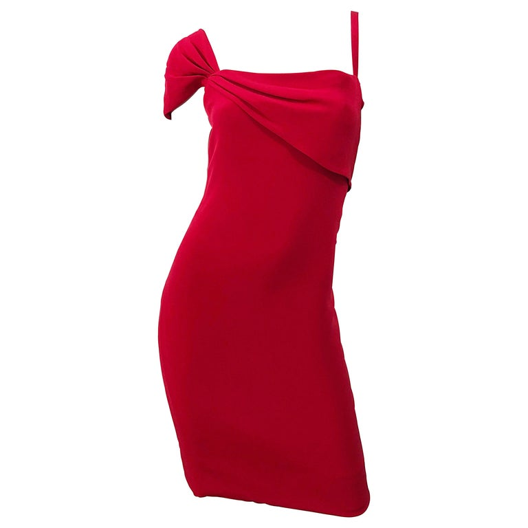 Vintage Bill Blass 1990s Size 6 Lipstick Red One Shoulder 90s Silk Dress For Sale