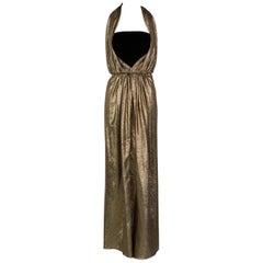 Vintage Bill Blass Black Velvet Gold Metallic Halter Strapless Evening Dress