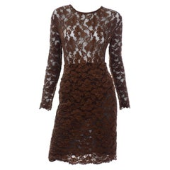 Vintage Bill Blass Brown Lace Bodysuit & Skirt 2 Pc Evening Dress