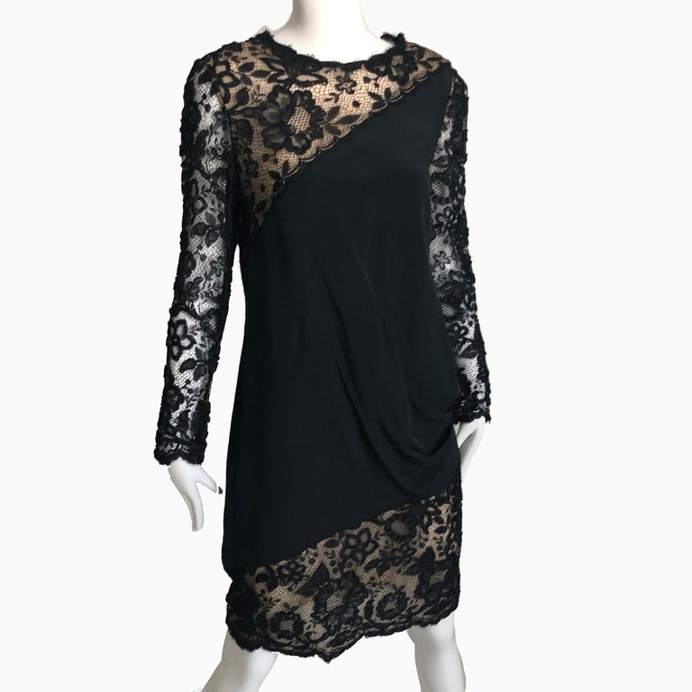 Authentic, preowned, vintage Bill Blass Illusion lace & silk cocktail dress. Likely made in the late 70s. No content label/lined/dry clean only/fastens with snaps. Preowned/vintage with minimal signs of prior wear. No size tag, fits like modern M: