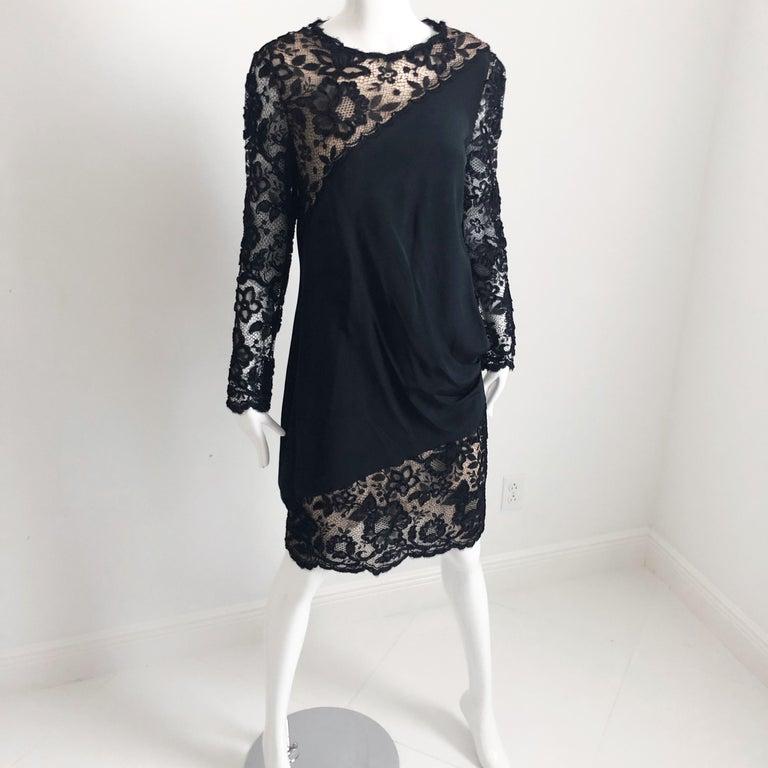 Vintage Bill Blass Cocktail Dress Black Illusion Lace Little Black Dress M In Good Condition For Sale In Port Saint Lucie, FL