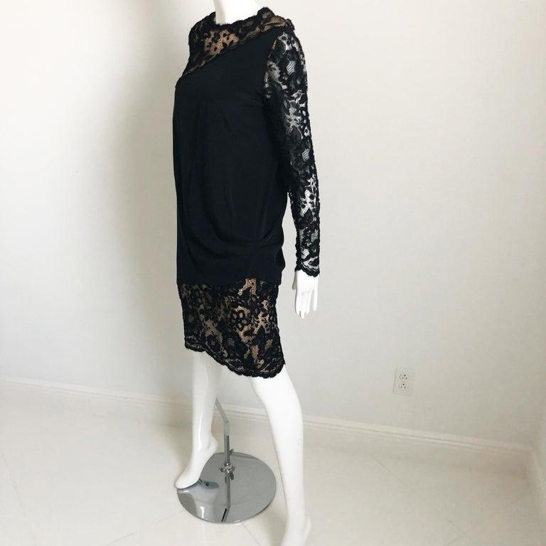 Women's Vintage Bill Blass Cocktail Dress Black Illusion Lace Little Black Dress M For Sale