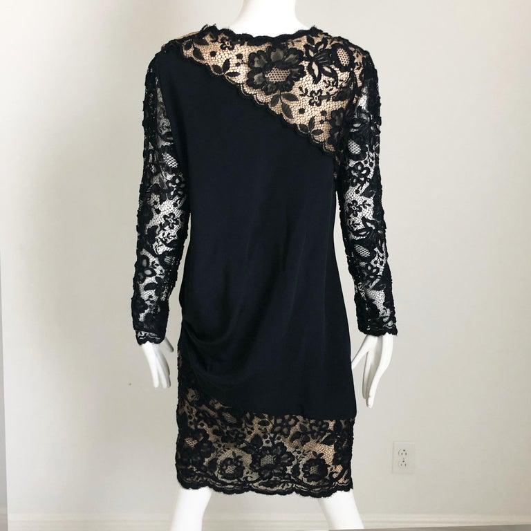 Vintage Bill Blass Cocktail Dress Black Illusion Lace Little Black Dress M For Sale 1