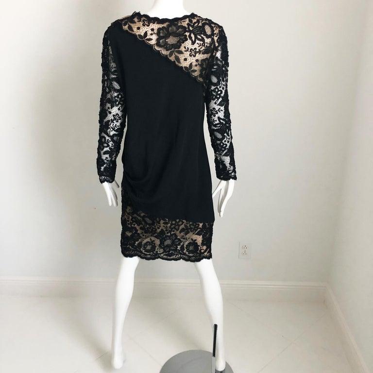 Vintage Bill Blass Cocktail Dress Black Illusion Lace Little Black Dress M For Sale 2