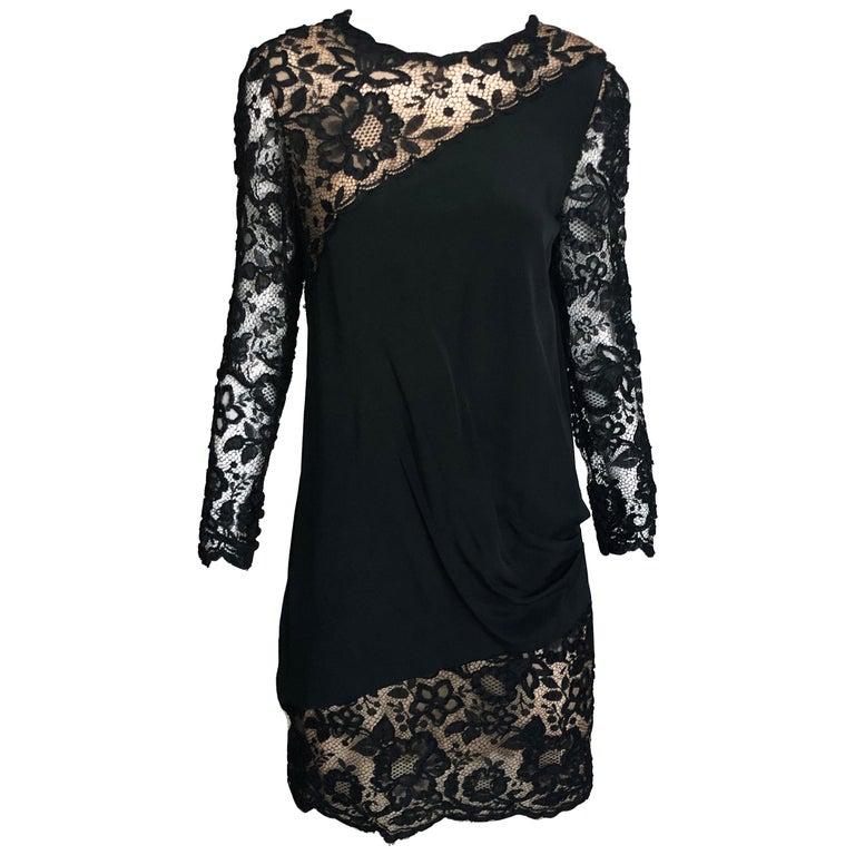 Vintage Bill Blass Cocktail Dress Black Illusion Lace Little Black Dress M For Sale